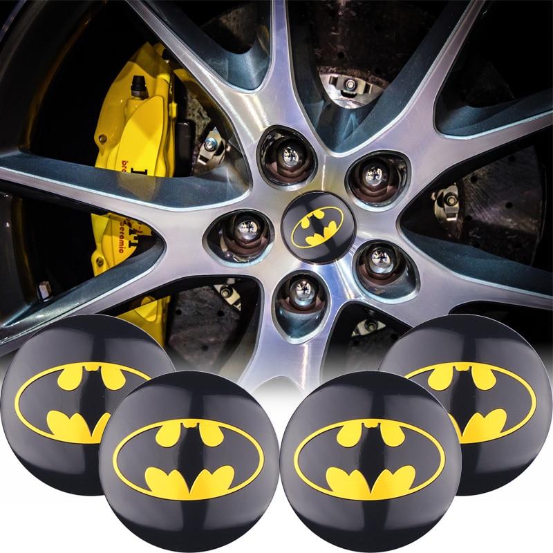 4pcs/Pack 3D Aluminum 56MM Decoration Batman Emblem Car Wheel Center Hub Caps Sticker Bat Decal Car-Styling Auto Accessories