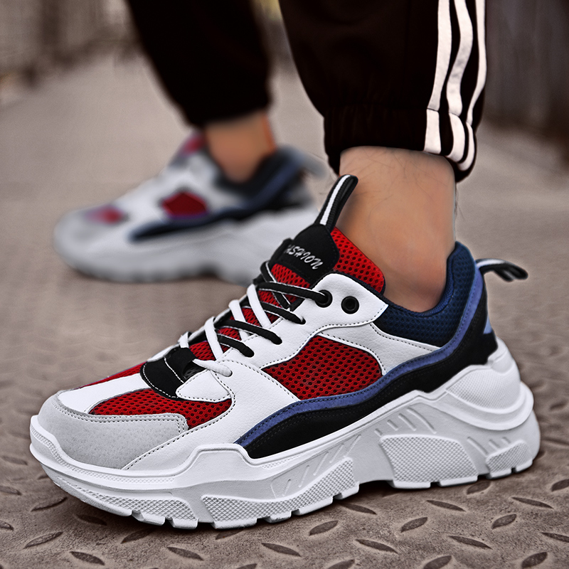 Bomlight Mixed Color Couple Sneakers Men Shoes Chunky Dad Shoes Man Loafers Thick Sole Trainers Damping Zapatillas Hombre Tenis