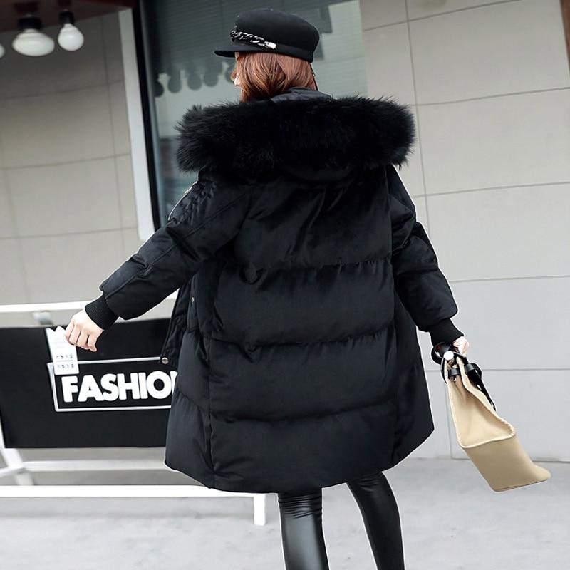 Vestes blue Capuchon Duvet Grand De Black Manteau Moyen Velours Fur Canard Col Femmes Fourrure Outwear black Rembourré Neige Chaud Fitaylor Long Fur Hiver Parkas À qPnTwx4gt