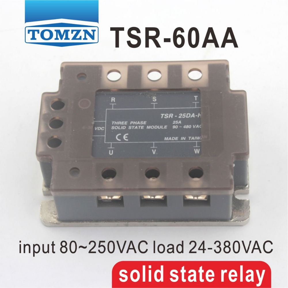 ФОТО 60AA TSR-60AA Three-phase SSR input 80~250VAC load 24-380VAC single phase AC solid state relay