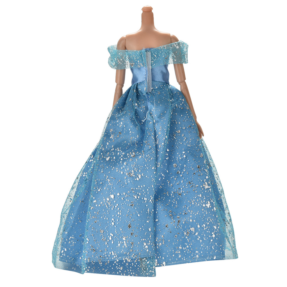 High Quality Blue Party Doll Dress Flowers Clothes Gown For Barbie
