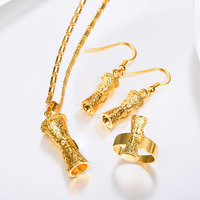 Kundu Necklace Earrings Ring 3 Pcs Set For Women Gold Color PNG Papua New Guinea Jewelry