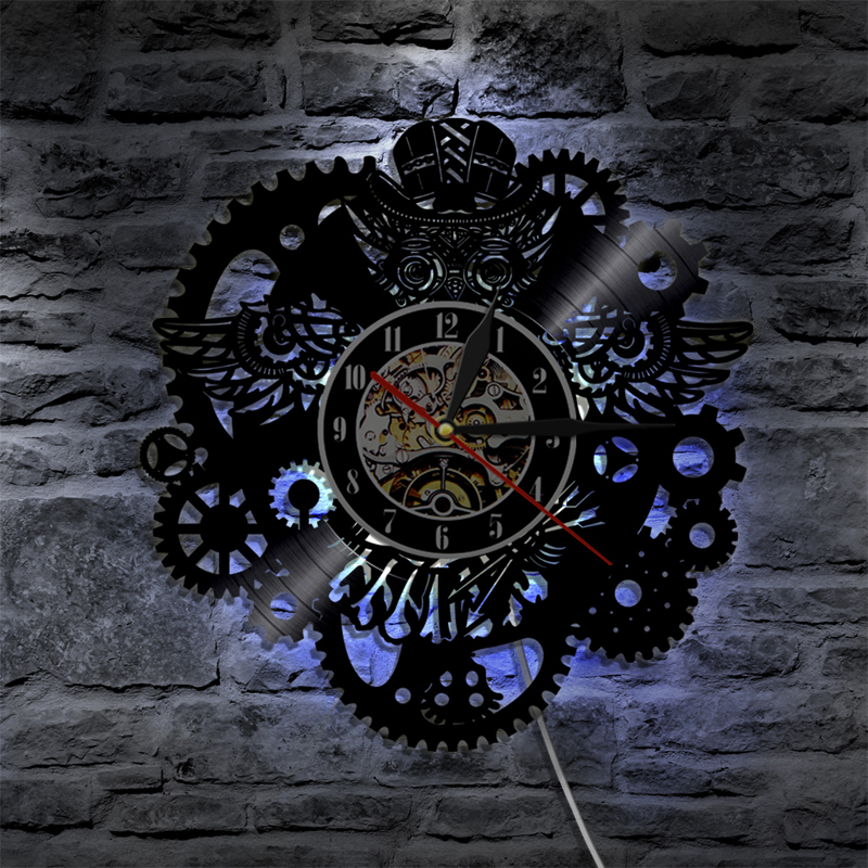 Vinyl Record Wall Clock Modern Design 3D Decorative Steampunk Clock With 7 Different Color LED Change Gear Wall Watch Home Decor
