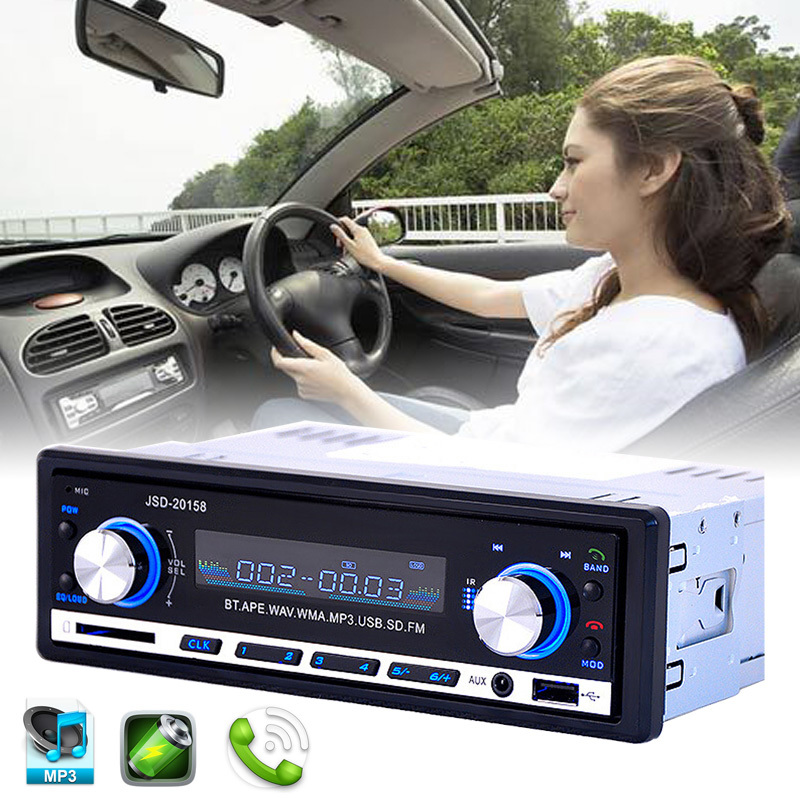 Car Radio Stereo Player Bluetooth Phone MP3 FM/USB Charging/With Remote Control 12V Car Audio Auto JSD-20158