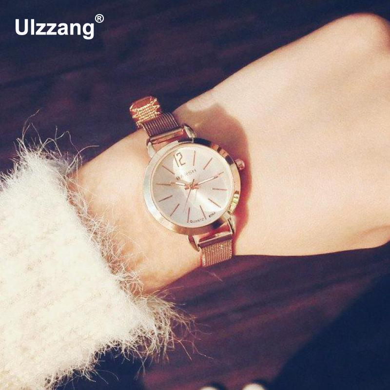 2017 New Fashion Classic Casual Ladies Gold Bracelet Watch Analog Quartz Watches Elegant Steel Strap Women Wristwatch Clock brand new 2016 fashion ladies casual watches rhinestone bracelet watch women elegant quartz wristwatch silver clock