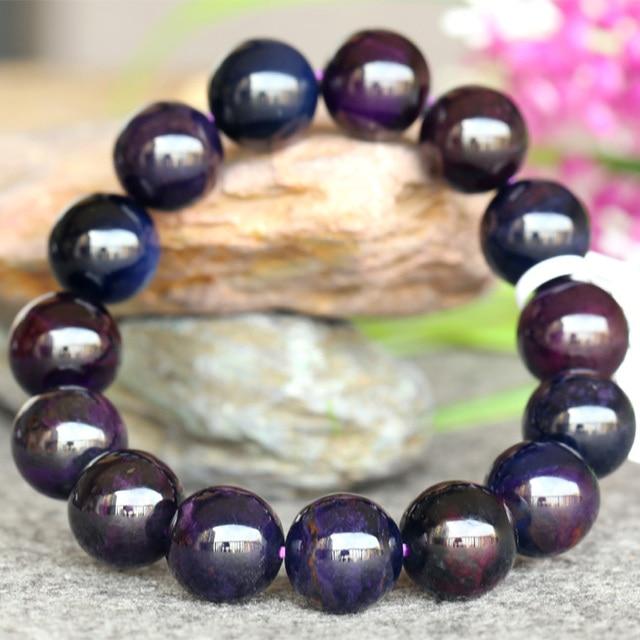 Wholesale Genuine Natural Dark Purple Blue Sugilite Stretch Finish Bracelet Round beads 13mm 03754