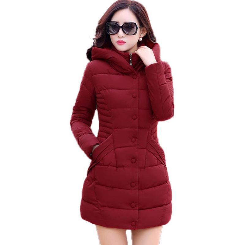 ФОТО new 2016 winter hooded jacket women cotton wadded overcoat medium-long slim casual fashion parkas plus size XXXL wine red coats