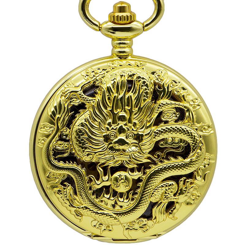 Gold Automatic Mechanical Pocket Watch Vintage Gold Dragon Hollow Carving Luxury Fashion Necklace Pendant Fob Watches For Gifts
