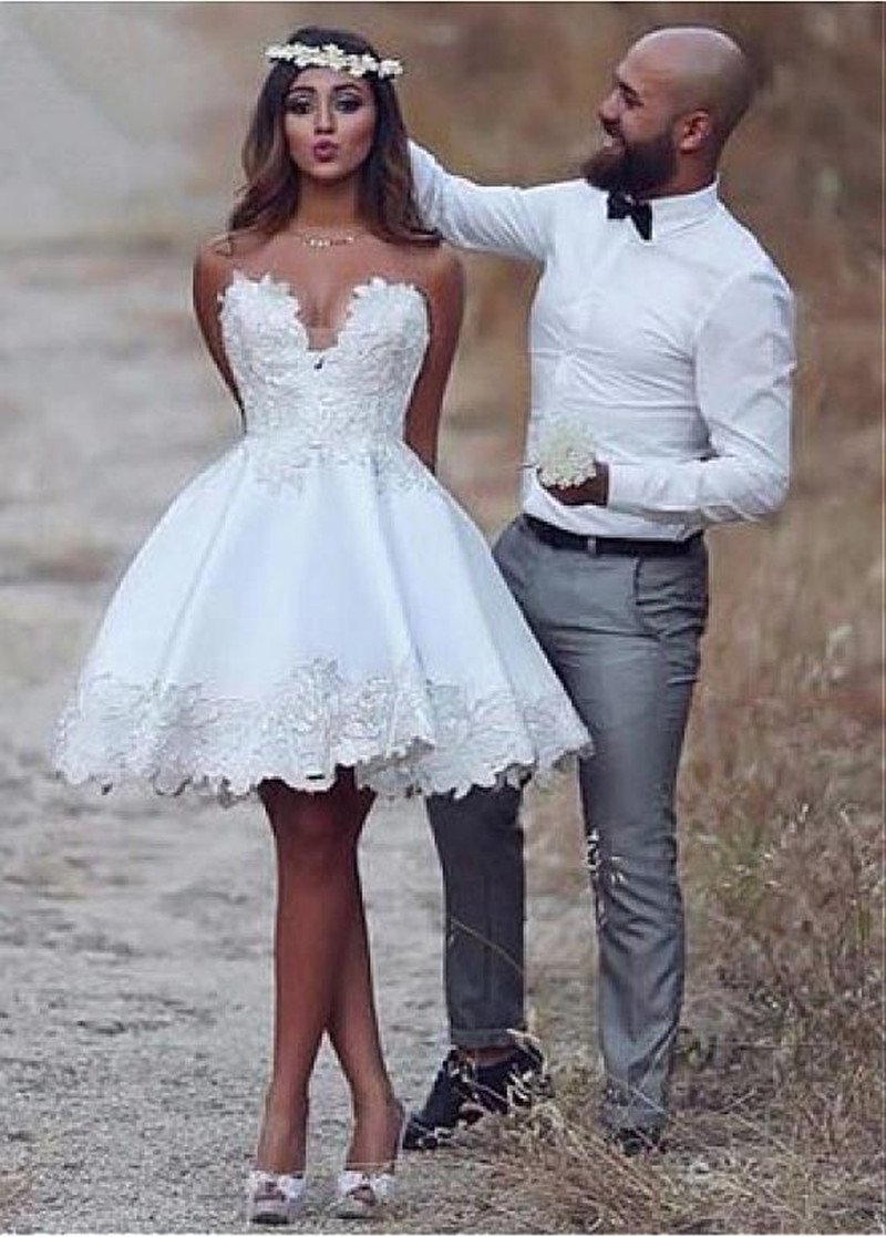Eightale Short Wedding Dress A Line Stain Lace Appliques Summer Cute Sleeveless wedding gown White ivory