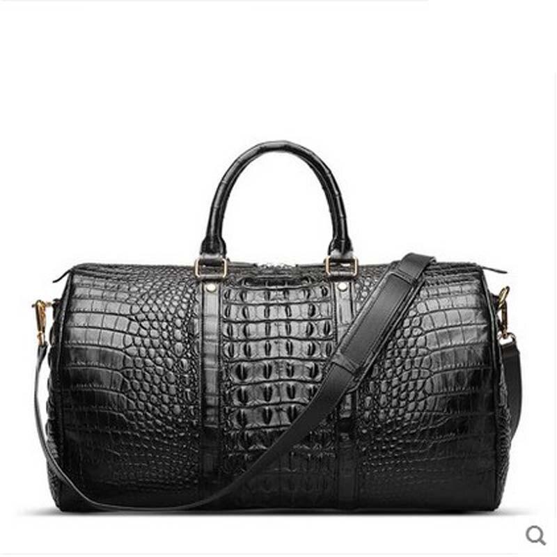 2018 hlt Imported crocodile skin Double - sided - double - back - bag men's bag Cask bag luggage men handbag boston bag dadi1 dadi hlt 102