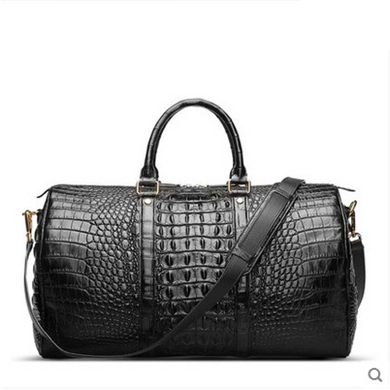 hlt Imported crocodile skin Double - sided - double - back - bag men's bag Cask bag luggage men handbag boston bag щипцы hlt 10