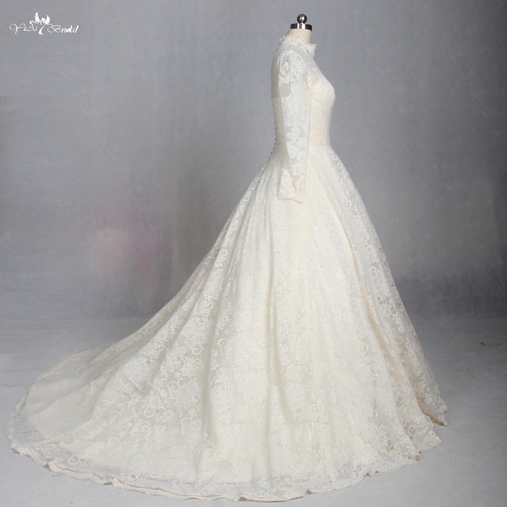 LZ180 Yellow High Neck Long Sleeve Wedding Dress Muslim Wedding ...