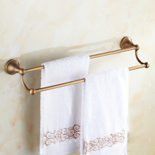 цена Towel Rack Antique Brass Wall Mount Bathroom Double Towel Bar Towel Holder Rack Bathroom Accessories KD909 онлайн в 2017 году