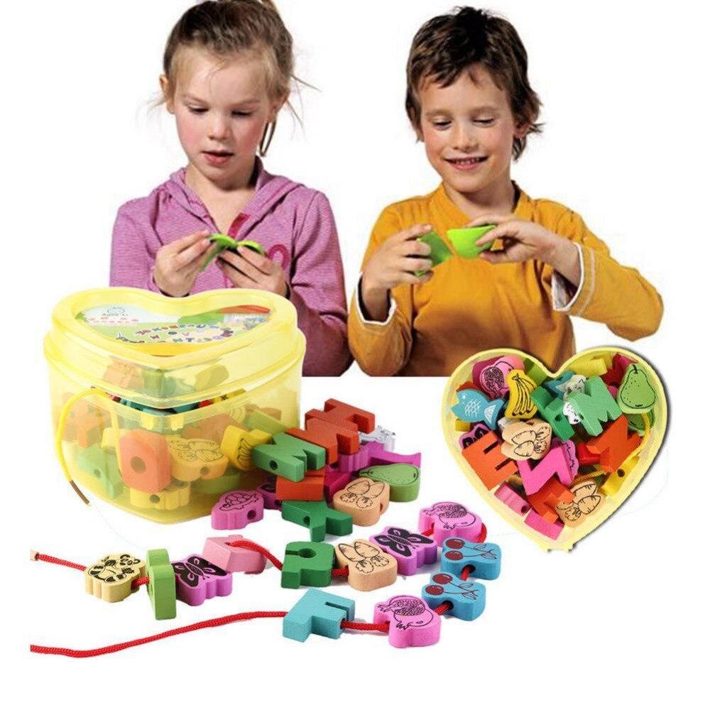 1 Set intéressant perles de laçage en bois animaux cordage blocs de jeu boîte en forme de coeur filetage éducatif mixte fruits jouet cadeaux