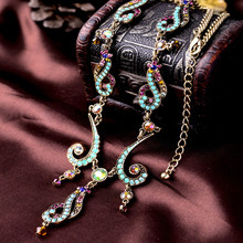 ZOSHI New Vintage Colorful Crystal Tassel Flower Statement Necklace for Women Gold Color Pendant Collar Maxi Ethnic Jewelry