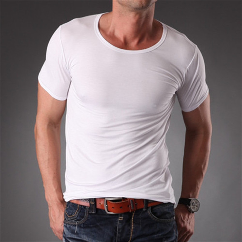 RL Marcă Natrual Modal Fitness T Shirt Men Slim Fit O Neck Blank - Imbracaminte barbati