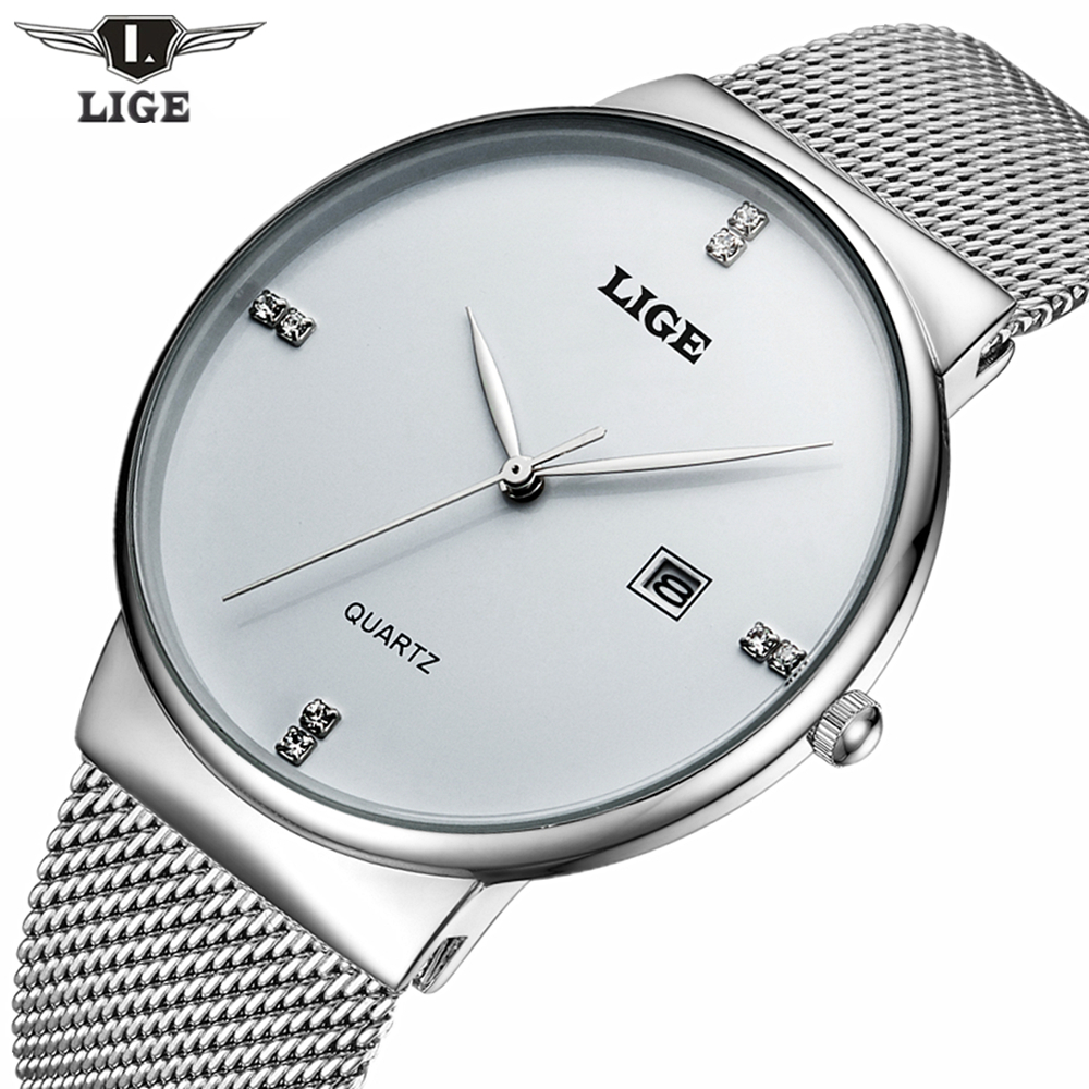 LIGE Brand Men's watches simple dress quartz watch men steel mesh strap Wristwatches Ultra-thin clock relogio masculino