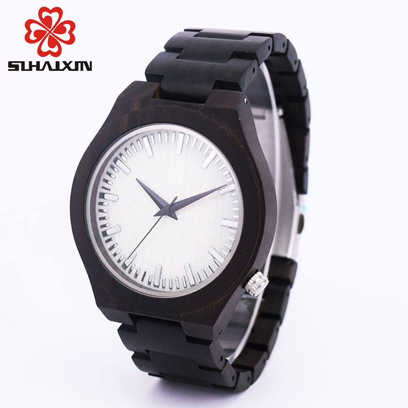 SIHAIXIN Engraved Men Black Wooden Watches Bamboo Personalized Custom Luxury Classic Vintage Male Quartz Wristwatch Gift For Dad