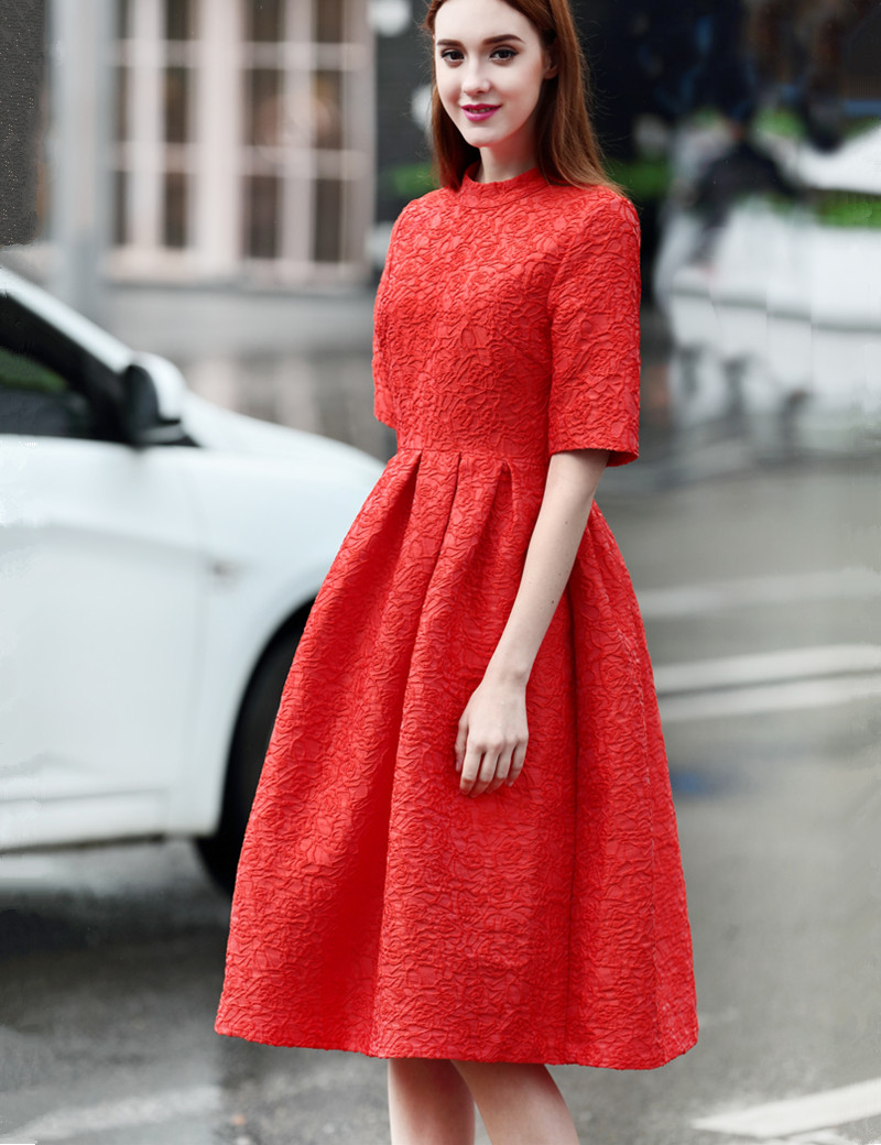 2016 spring summer short sleeve vintage elegant midi length ball gown women  party dresses robe retro 3ab8ac5302f