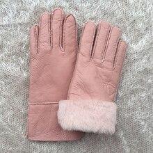 Female Gloves Pink Winter Women Leather Wool Genuine Sheepskin Solid Sheep Fur Mittens Elegant Warm N28