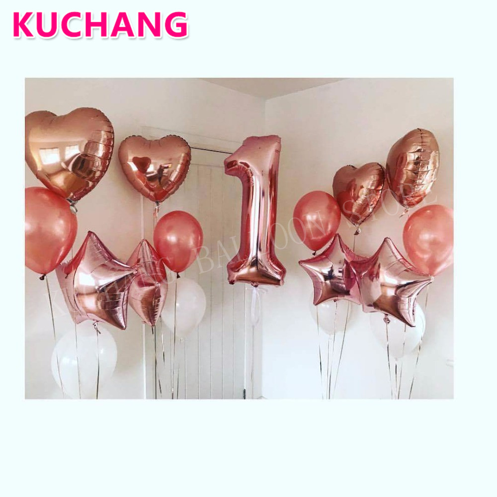 13PCS/SET 40Inch Rose Gold Number 1 + 18Inch Love Heart Stars Foil + 12Inch Latex Balloons Baby Shower 1st Birthday Decorations