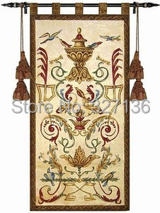 Flybird Around The Palace Vase Home Decoration Tapestry Wall Hanging  Aubusson Style Medieval Jacquard Fabric Home