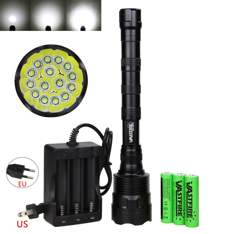 50000LM 15X XM-L T6 5 Modes LED Camping Hunting Flashlight Military Torch Brightness Lamp Light+3x18650 Battery +Charger 9000lumens led flashlight cree 3 t6 5 modes led torch tactical lanterna waterproof light for camping hunting with 18650 battery