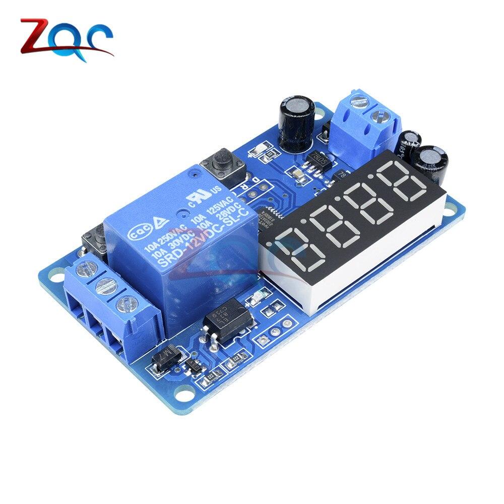 Реле времени обратного отсчета, модуль реле задержки постоянного тока 12 В, 4-значный светодиодный цифровой таймер, переключатель управления...