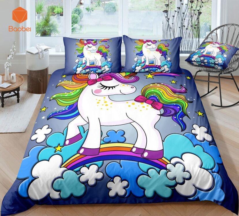 3D Cute rainbow Unicorn Bedding Set Pillowcas Cartoon Bed Duvet Cover for Kids Adults 3pcs Colorful