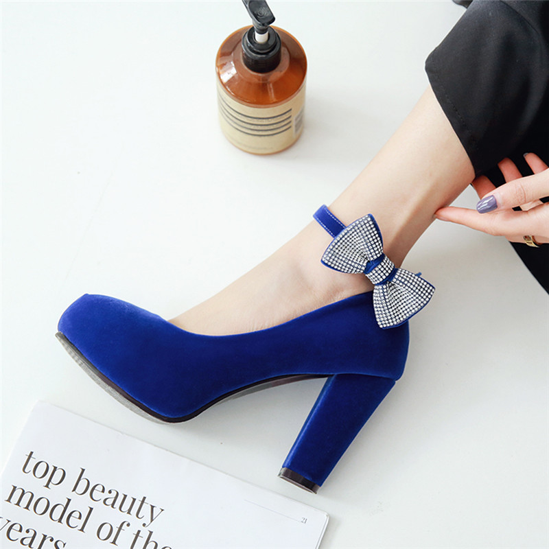 Rimocy womens plus size 45 crystal bowtie pumps super high square heels ankle strap party wedding shoes woman flock shoes 2019Rimocy womens plus size 45 crystal bowtie pumps super high square heels ankle strap party wedding shoes woman flock shoes 2019