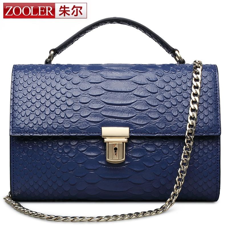 купить ZOOLER Brand Genuine Leather Bags Women Crocodile Pattern Leather Shoulder Bag Evening Clutch Wallet Purse Chain Messenger Bag недорого