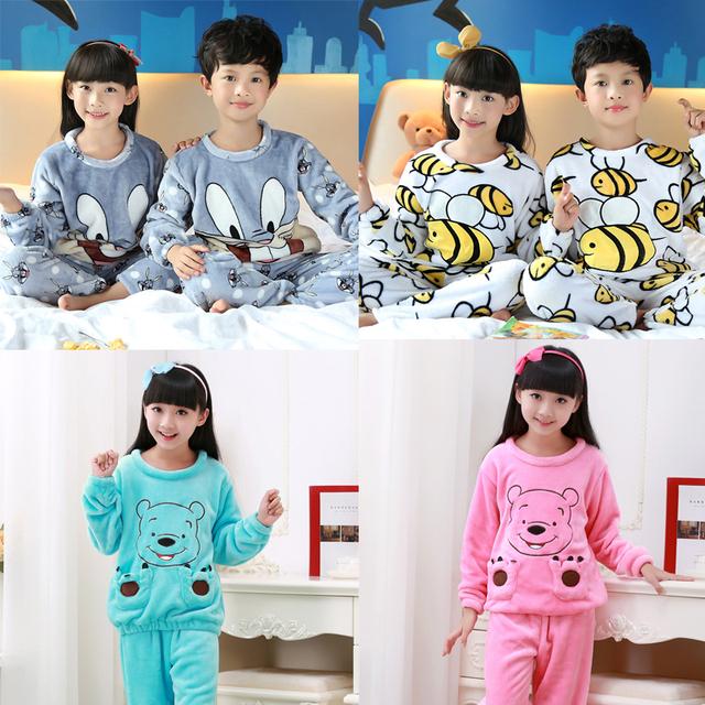 2016 Crianças de Inverno do Velo Pijamas de Flanela Quente Sleepwear Meninas Loungewear Coral Fleece Crianças pijamas Homewear Pijama de Inverno