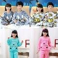 2016 Niños Del Invierno Polar Pijamas ropa de Dormir de Franela Caliente Chicas Loungewear Coral Fleece Niños pijamas Homewear Pijama de Invierno