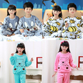 2016 Winter Children Fleece Pajamas Warm Flannel Sleepwear Girls Loungewear Coral Fleece Kids pijamas Homewear Winter Pyjama