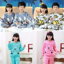 2017 Winter Children Fleece Pajamas Warm Flannel Sleepwear Girls Loungewear Coral Fleece Kids pijamas Homewear Winter Pyjama