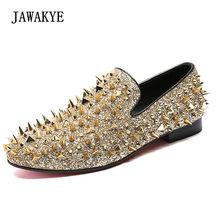 80db17adb Ouro Cravado Mocassins Homens Sapatos da moda Dedo Do Pé Redondo de Bling  Lantejoulas Banque Casamento