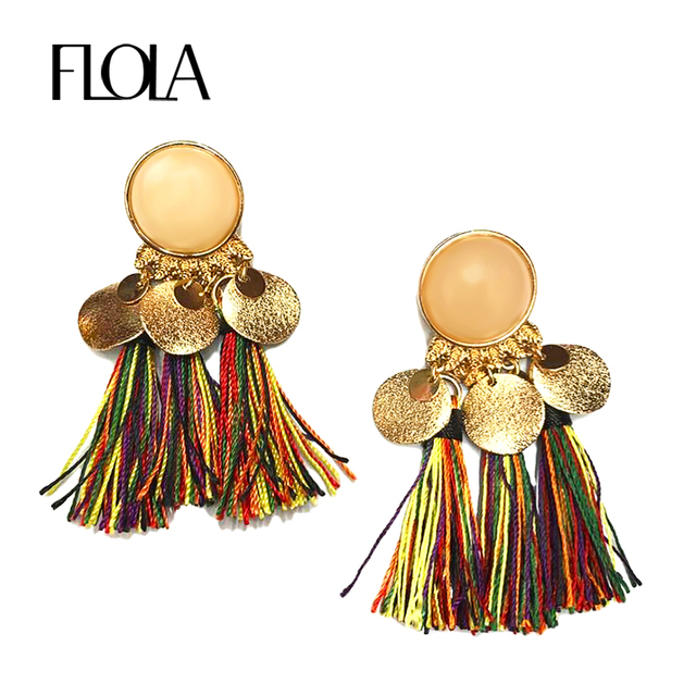Flola 4 Colors Gold Fringe Earrings Bohemian Long Tel Color 2017 Famous Brand Jewelry