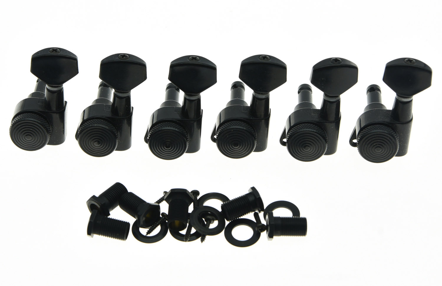 KAISH Left Handed Locking Tuning Keys Guitar Tuners Pegs Machine Heads Black a set of 6 pcs gun color sealed gear string tuners tuning pegs keys machine heads for guitar