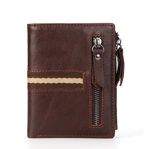 2019 Brand Men Wallets Genuine Cow Leather Card Holder Vintage Design Wallet Male Leather Small Zipper with Coin Pocket Wallet Lahore