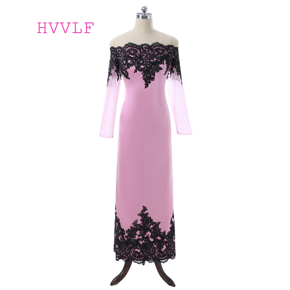 Pink 2018 Mother Of The Bride Dresses Sheath Long Sleeves Ankle Length Lace Formal Groom Plus Size Mother Dresses For Wedding