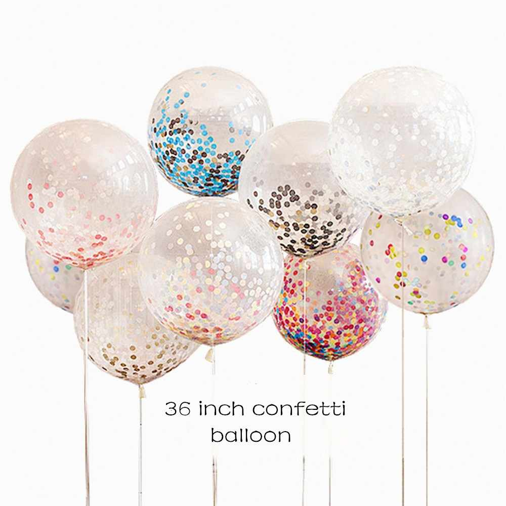 Kuchang 1pcs 36inch confetti balloon transparent balloon party wedding party decor kids children birthday party supplies balloon
