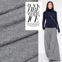 Pure Wool Gray Stretch Knitted Wool Fabric Cardigan Wide Leg Pants Dress Fabric
