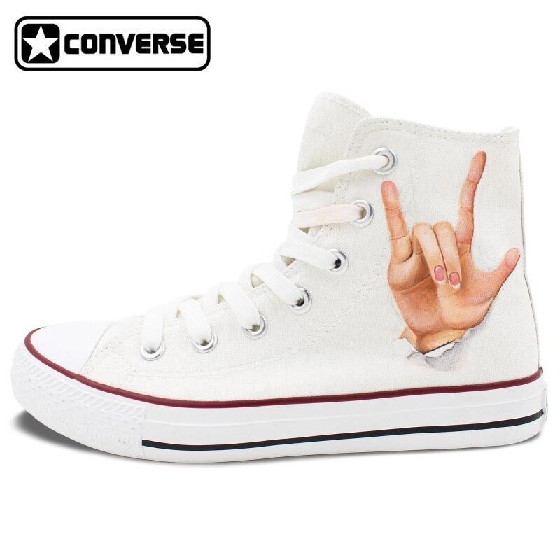 Prix pour Blanc Haute Top Converse Chuck Taylor Geste de Bonne et Rock Design Peint À La Main Chaussures Hommes Femmes Sneakers D'anniversaire Cadeaux