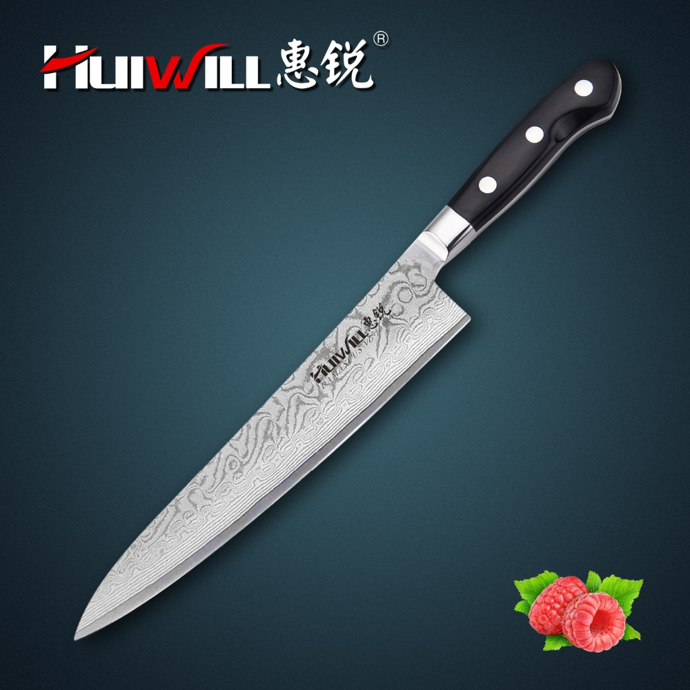 Huiwill brand damascus knife 9 Japanese VG10 Damascus steel kitchen chef knife with forged Pakka wood