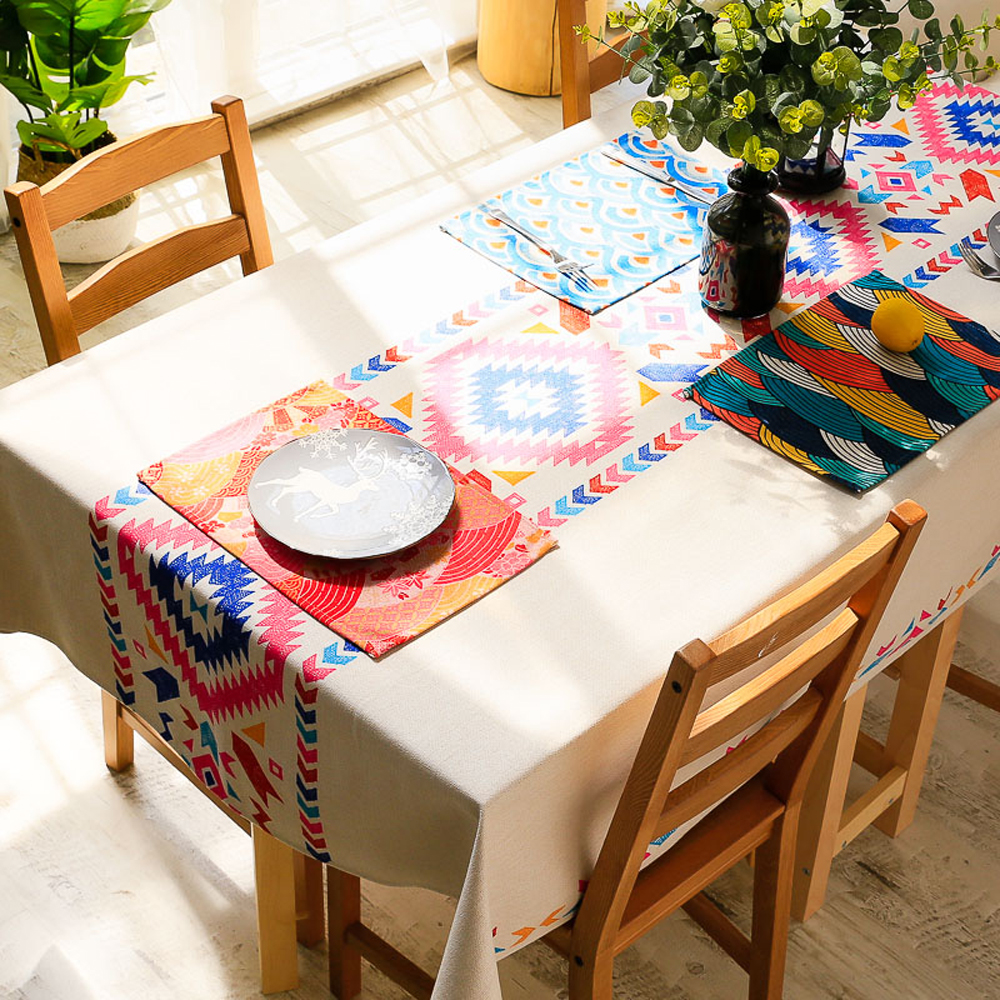 Fashion Trend National Style Geometric Coloured Drawing Pattern Tea Table Cloth Outdoor Camping Rectangle Tablecloth