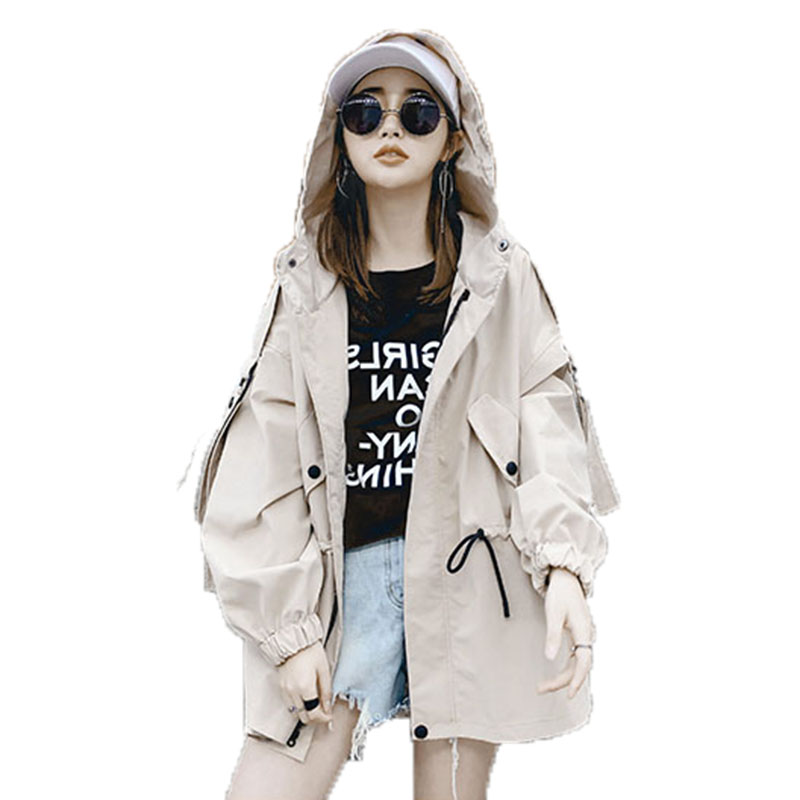 2018 Women's Spring Autumn Coat bf style windbreaker female loose oversized long   trench   coat fashion hooded coats For Girl d003