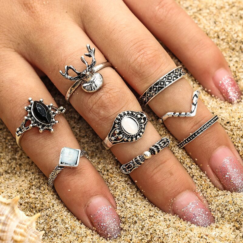 OUMEILY Antique Silver Ring Flower Black Opal Stone Hot Fashion Statement Rings in Cystal for Wedding Bohemia Finger Ring Set