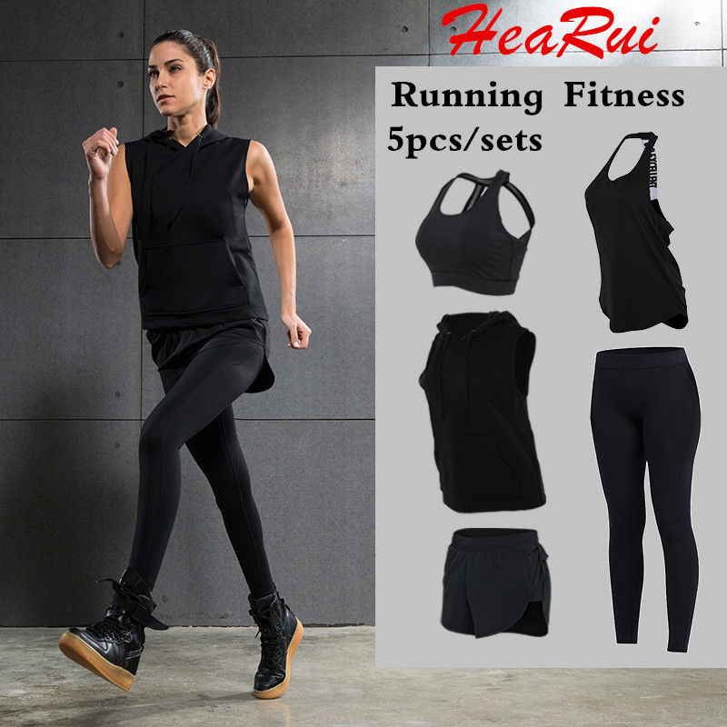 ФОТО Women Fitness Yoga Set Gym Sports Running Sets Jogging Dance Tracksuit Breathable Quick Dry Spandex Sportswear Clothes Yoga Suit