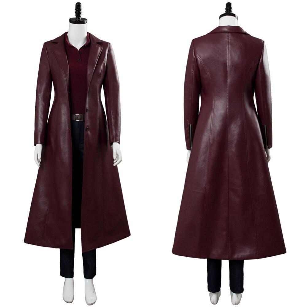 X-Men Dark Phoenix Costume Jean Grey Cosplay Marvel Girl Leather Jacket Trench Coat Outfit Women Halloween Carnival Custom