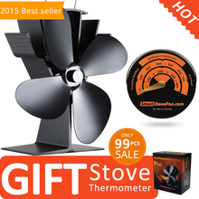 Free Gift Stove Thermometer + Best Seller Eco Wood Stove Fan Heat Powered Stove Fan